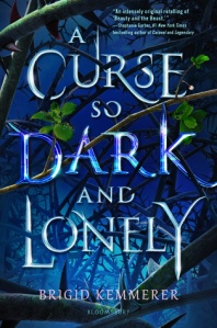 A curse so dark and lonely by Brigid kemmerer has a dark blue cover with silver branches. The title is in large text across the cover in silver metallic font.